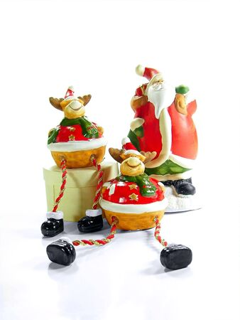 rein: Santa Claus and rein deers over white background