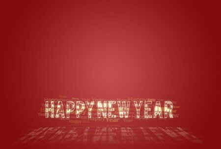 Happy New Year golden typo card over red background Stock Photo - 6092156