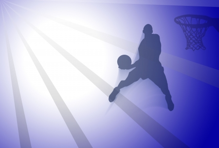 Basketball wallpaper with player silhouette over blue background