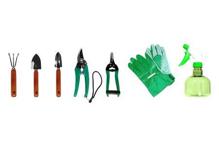 Set of gardening tools isolated over white background