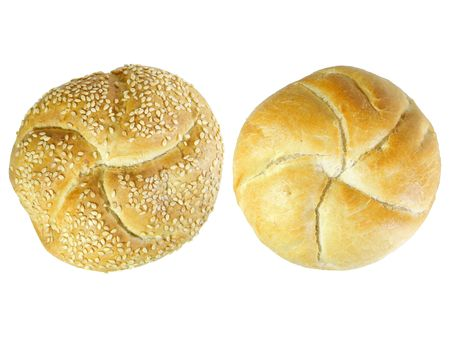 Two Kaiser rolls isolated over white background Stock Photo