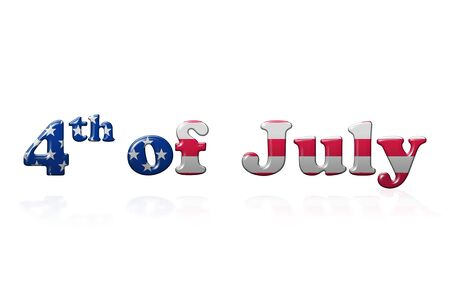 declaration of independence: 4th of July writing with reflection over white background Stock Photo