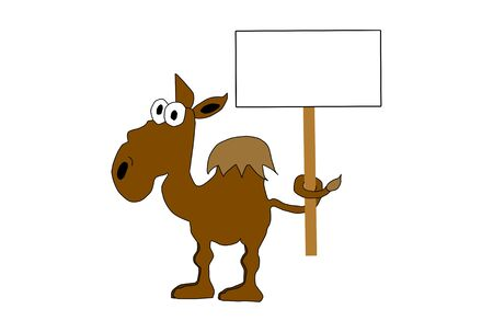 Cartoon illustration of a camel holding sign with tie