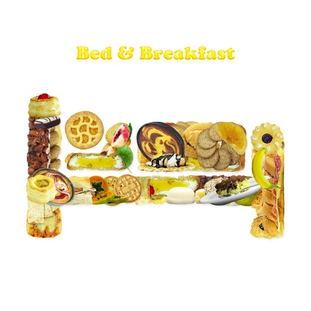 Bed & Breakfast symbol made with food isolated over white background with glowing text photo