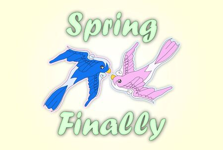 finally: Illustration with kissing swallows and Spring Finally text