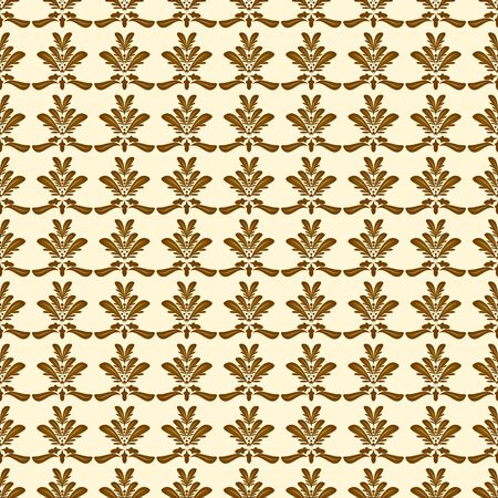 creme: Damask seamless pattern with brown shapes on creme background
