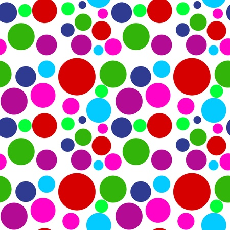 polka dots: Seamless patter made of colored dots over white background Stock Photo