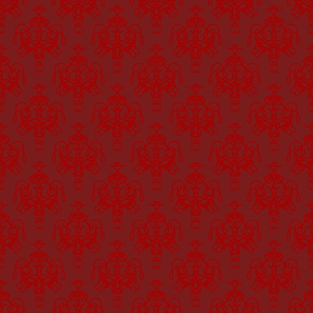 Damask seamless pattern with red design over maroon background photo