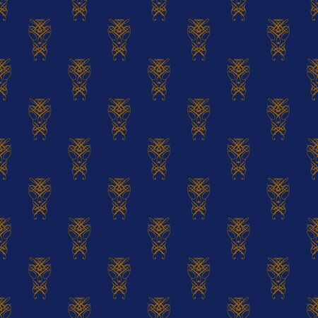 Damask seamless pattern with orange design over blue background photo