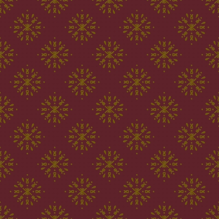 Damask seamless pattern with golden design over coarse maroon background photo