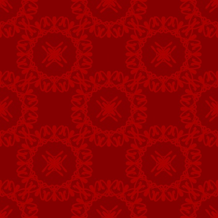 Damask seamless pattern with red circular design over rough maroon background Stock Photo