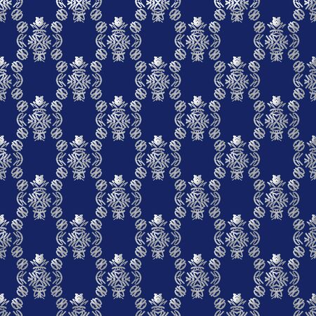 Damask seamless pattern with silver design over dark blue background photo