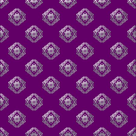 Damask seamless pattern with silver design over purple background