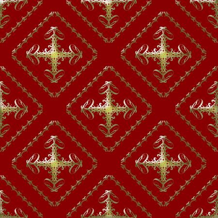 Damask seamless pattern with golden abstract design over maroon background photo