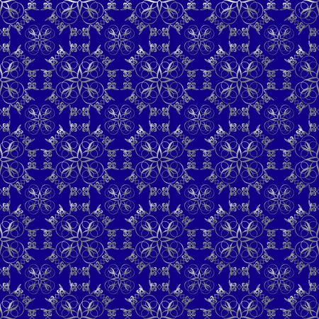 Damask seamless pattern with silver design over prussian blue background photo