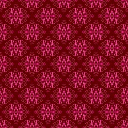 Damask seamless pattern with hot pink design over maroon background photo