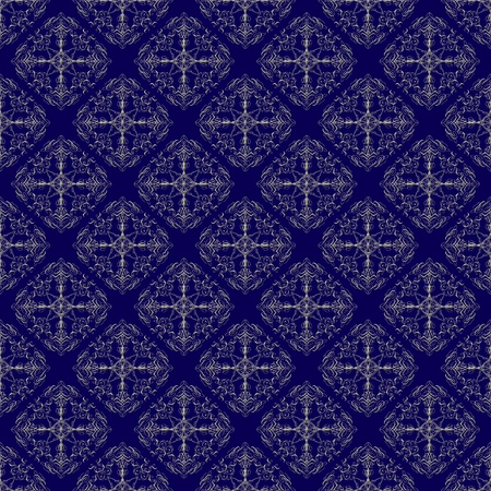 Damask seamless pattern with golden design over prussian blue background photo