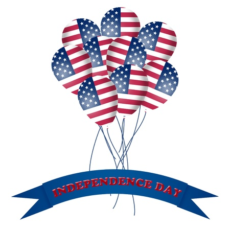 Balloons with American flag texture and banner with red light Independence Day text Stock Photo - 9923587