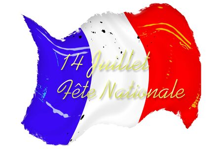 Waving grunge French flag stained and spotted over white background with text photo