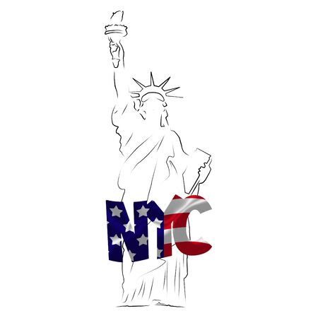 Sketched Statue of Liberty with NYC text textured with American flag