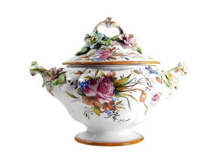 Floral tureen with paintings and craquelure effect isolated over white background Stock Photo