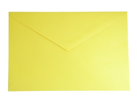 sealable: Yellow closed envelope isolated over white background Stock Photo