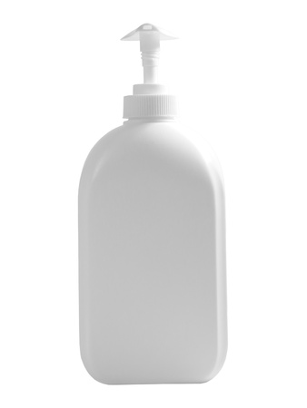 anti bacterial soap: Blank soap dispenser isolated over white background Stock Photo