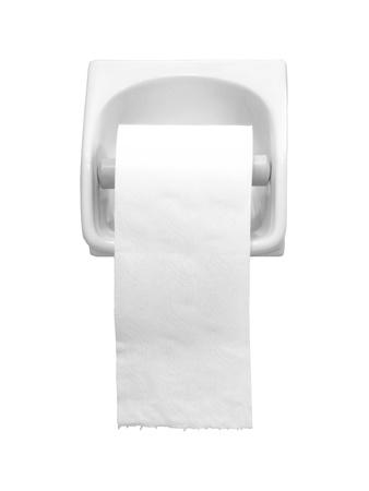 papel de baño: Titular de papel higiénico aisladas sobre fondo blanco
