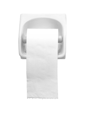 toilet roll: Toilet paper holder isolated over white background