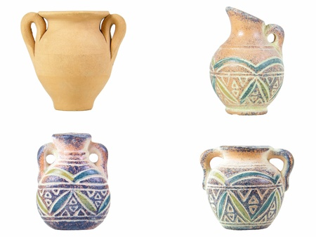 Traditional Sardinian earthen jugs isolated over white photo