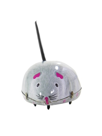 tinplate: Tinplate grey mouse isolated over white background Stock Photo