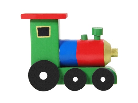 Wooden colorful locomotive isolated on white background photo
