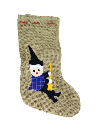 Epiphany Sock Decorated With Old Woman Riding BroomIn Italian Tradition An