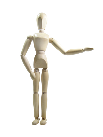 proportions of man: And here-s to you...wood puppet presenter isolated over white background Stock Photo