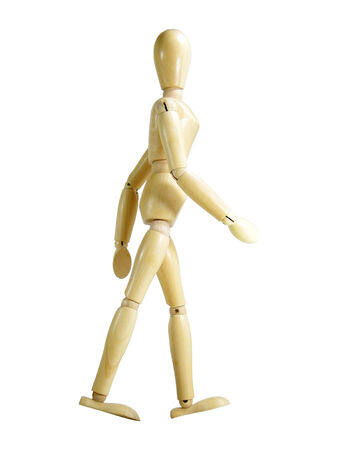 proportions of man: Walking wood puppet isolated over white background