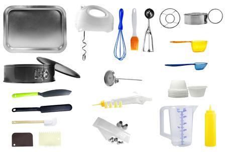 kitchen tools: Keuken gereedschap geïsoleerd op een witte achtergrond Stockfoto