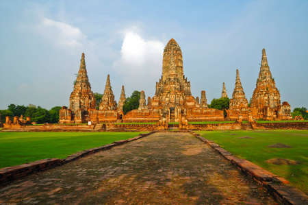 Wat Chaiwattanaram, the historical temple in Ayutthaya, Thailand Stock Photo