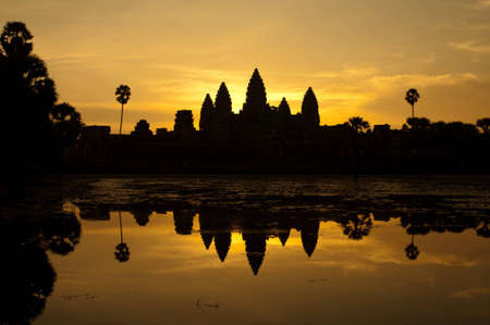 sunrise at angkor wat  temple photo