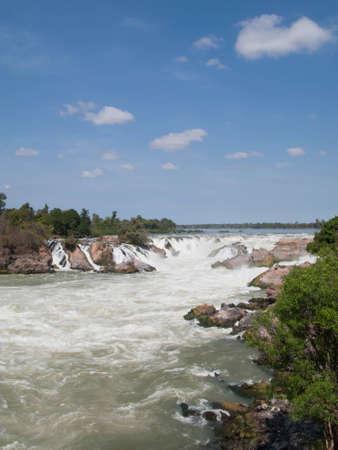 Khon Phapheng Waterfall, Champasak, Sud del Laos Archivio Fotografico