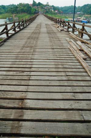 wooden bridge in thailand photo