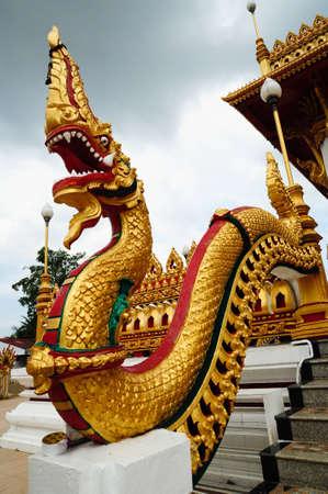 naga statue at thai temple photo
