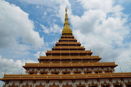 Golden pagoda at the temple, Khonkaen Thailand photo