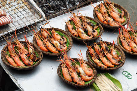 seafood, Shrimp grill  on the market photo