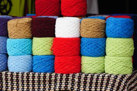 Colorful knitting yarns photo