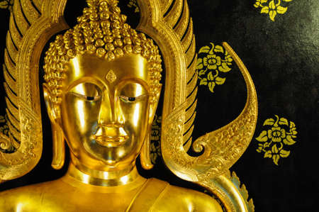 Golden Buddha Statue in the temple, Thailand Stock Photo
