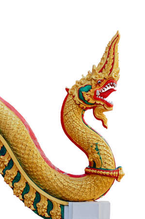 Thai dragon or king of Naga statue on white background photo