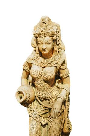 statua di womwn tailandese su sfondo bianco