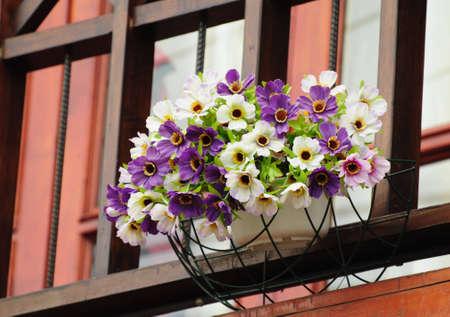 fiore vaso decorato a casa Archivio Fotografico