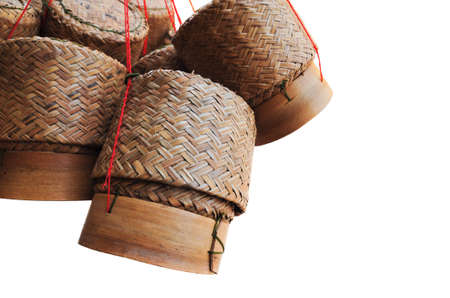 wooden rice box in thailand