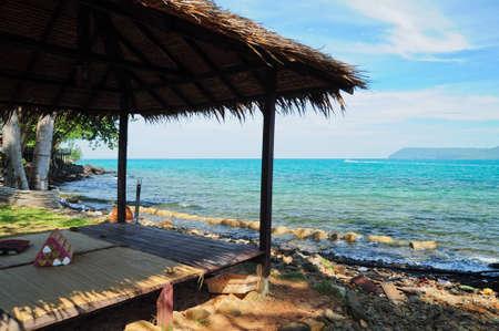 capanna per il riposo vicino al mare Archivio Fotografico